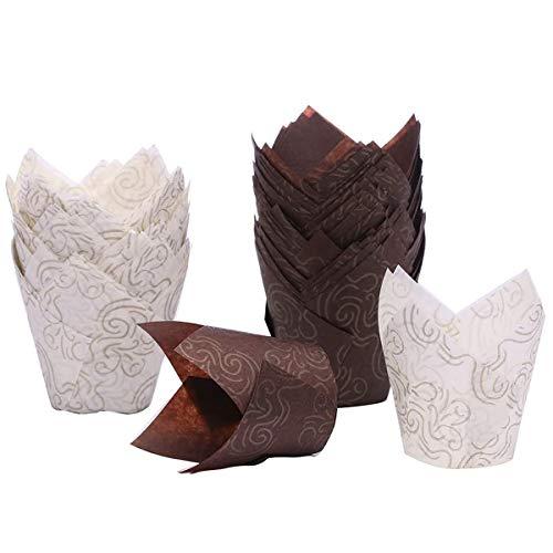 Backförmchen aus Papier in Tulpenform, für Cupcakes, Muffins, Braun und Weiß, 100 Stück