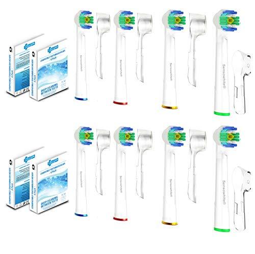 SoniWhite® Vervangende Elektrische Tandenborstel Hoofden Compatibel met Oral B Tandenborstel Hoofden om Flexisoft Floss Actie en 3D Wit 8 Pack