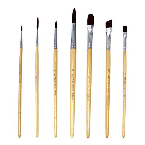 Artway - Pinselset - Nylon - Rund-, Flach-, Katzenzungen-, Schräg- & Schlepperpinsel - 7 Pinsel - 1 x 1 Set