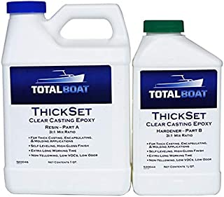 TotalBoat Thickset Clear Casting Epoxy | Crystal Clear Resin Kit for Deep Pours, Casting, and Molds (1.3 Quart Kit)