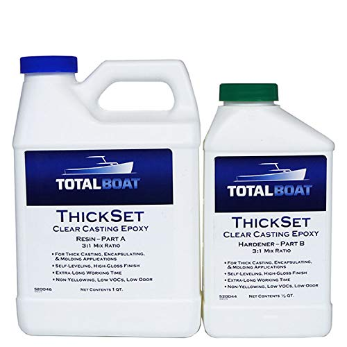 TotalBoat Thickset Deep Pour Epoxy (1.3 Quart Kit) | Clear Gloss Pourable Casting Resin Kit | for Art, Epoxy River Tables, Live Edge Slabs, Molds, Wood Voids