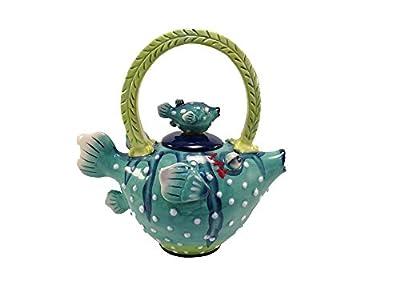 "Blue Sky Ceramic Puffer Fish Teapot, 9.5 x 5.5 x 9.5"""