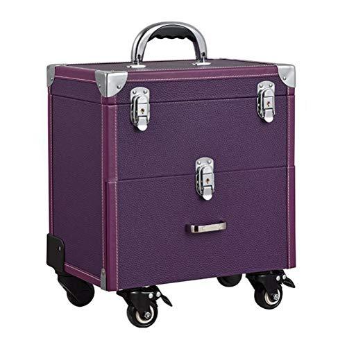 Maquillage Valise Trolley Vanity Train cas rangement Vanity Case rangement coiffure organisateur pour salon Nail artiste de maquillage professionnel,Purple