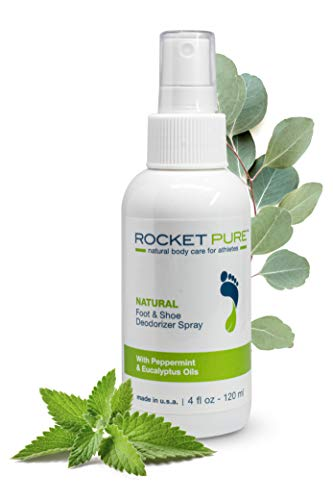 Rocket Pure - Odor Control for Feet, Shoes & Gym Gear - Natural Foot & Shoe Deodorizer Spray - Mint - 4 fl oz