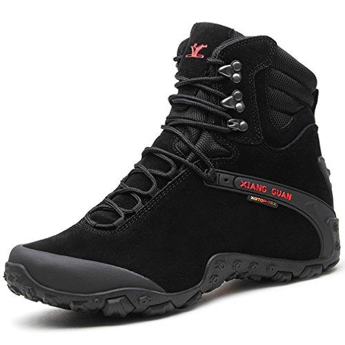 XIANG GUAN Femme Suède Imperméable High-Top Chaussures Respirant Sport Outdoor Militaire Combat Bottes de randonnée Trekking (38 EU, Noir)