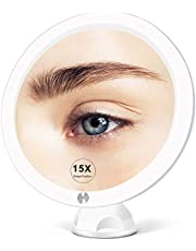 Fabuday 15X Magnifying Mirror with Light - Upgraded 2021 Version Lighted Makeup Mirror with Magnification, Led Magnified Mirror for Bathroom with Suction Cups, Lighting Adjustable, Dual Power Supply