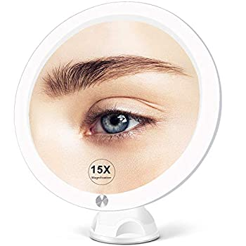 Fabuday 15X Magnifying Mirror with Light - Upgraded 2021 Version Lighted Makeup Mirror with Magnification Led Magnified Mirror for Bathroom with Suction Cups Lighting Adjustable Dual Power Supply