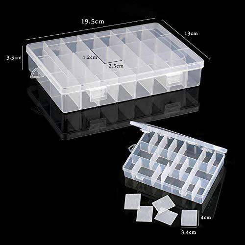 JIAOSHUAIYU Caja de Almacenamiento Compartimento de Almacenamiento de plástico Caja de Pendiente de contenedor Ajustable Caja Rectangular Caja de exhibición de joyería 19.5x13x3.5cm