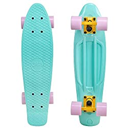 Cal 7 Complete Mini Cruiser Skateboard, 22 Inch Plastic in Retro Design