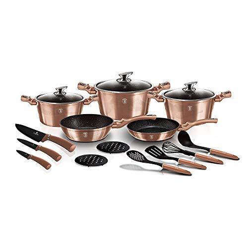 Juego de utensilios de cocina de 17 piezas, línea metálica, edición oro rosa BH/6161