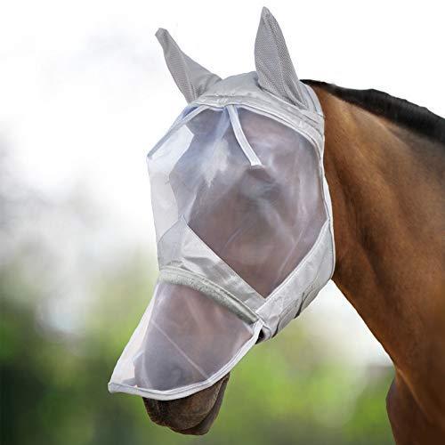 Harrison Howard CareMaster Fliegenmaske UV-Schutz Ohren und Nasenschutz Silber Kaltblut (XL)