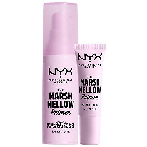 NYX PROFESSIONAL MAKEUP Set The Marshmellow Primer, Base per makeup, Radice di marshmallow e Chlorella Vulgaris, Formula Vegana, Confezione da 2 prodotti in formato standard e mini, 30 ml e 8 ml