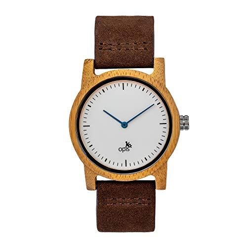 Opis UR-U2: Minimalistisch Horloge met Houten Behuizing en Lederen Pols Band voor Damen en Heren (Zwart Sandelhout of Bamboe)