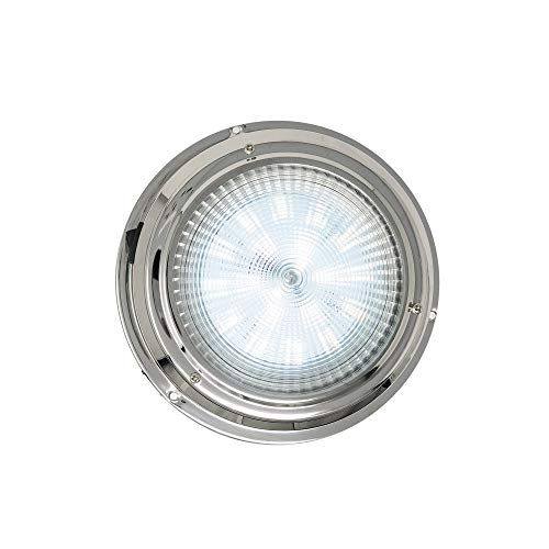 Five Oceans 12V LED Interior Dome Light with an On-Off Switch, 6 inches Cool White, Stainless Steel FO-2625