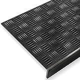 Antirutsch Stufenmatten aus Gummi mit Winkelkante | rutschhemmend für außen und innen | im 5er Set | Design Tränenblech - 75 x 25 cm