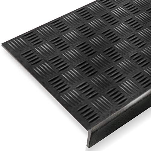 Antirutsch Stufenmatten aus Gummi mit Winkelkante | rutschhemmend für außen und innen | zwei Größen zur Wahl im 5er Set | viele Designs für Ihre Treppe | Design Tränenblech - 65 x 25 cm