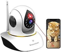 VStarcam ペットカメラ / ネットワークカメラ/ 防犯カメラ/ 監視カメラ Wifi 300万画素 【猫ちゃんと遊んび機能付き 留守番中の猫の健康促進 猫の運動不足を解消 】 撮影・会話・動体検知・ 警報通知・暗視クラウド /...