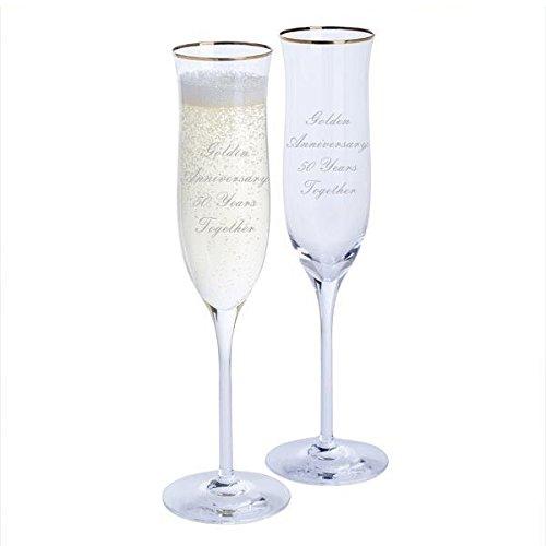 Dartington Golden Anniversary Paire de flûtes à champagne Celebration avec bord doré – 50 ans Ensemble