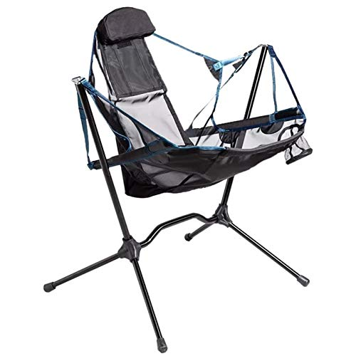 Tellgoy Outdoor Folding Camping Swing Recliner Low Chair, Rocking Chair with Pillow Support Up To 300Lbs, Compact Rocking Chair