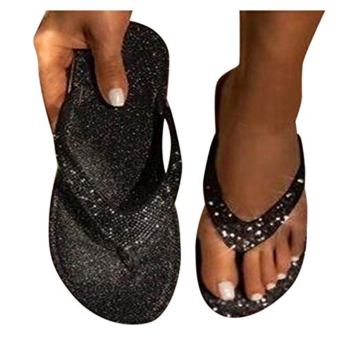 SUNNSEAN Damen Toe-Thong Flip Flops Zehentrenner Sandals mit Strass Flach Sandalen Sommer Hausschuhe Plateau Strandschuhe Flip Pantoletten Sommerschuhe