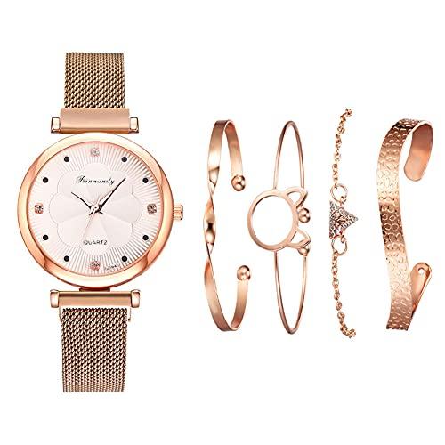 qwert Reloj de Cuarzo para Mujer Reloj analógico para Mujer con Correa de cerámica Reloj de Moda para Mujer Reloj de Pulsera para Mujer,Rose