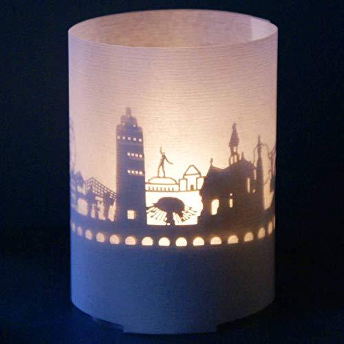 13gramm Darmstadt-Skyline Windlicht Souvenir in der Geschenk-Box, 3D Edelstahl Aufsatz für Kerze inkl. Kerze, Projektionsschirm