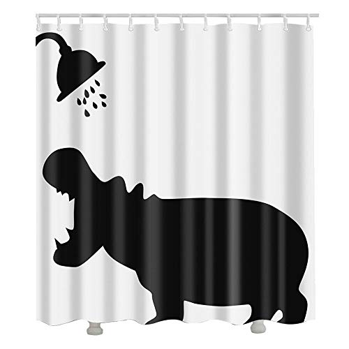 Douchegordijn Polyester douchegordijnen vormbewijs Resistant wasbaar en waterafstotend Badkamer Gordijn met 12 Haken, 180 x 180 cm Drop, Wit Zwart (Color : Hippo)