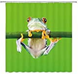 MJWLKJ Duschvorhang Grüner Frosch,Anti-Schimmel Anti-Bakteriell Vorhang ,3D Drucke 100prozent Polyester, inkl. 12 Duschvorhangringen für Badewanne Dusche Gardinen- 150 x 180cm