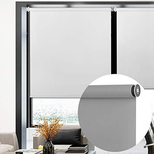 ZENGAI Protección UV Noche y día Estor Enrollable, Sombreado Completo Impermeable Cocina Baño Persiana, Sin Perforaciones Gris (Color : A, Size : 90x170cm)