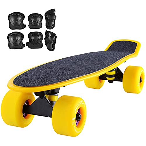 LangCher Skateboards 22' Mini Complete Skateboard Plastic Board with Protective Gear Frosted PU wheel Cruiser Skateboard for Kids Girls Boys Beginners Teens Adults (Color : Yellow)