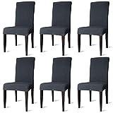 SONUG 6er Set Stuhlhusse, Wasserdicht Stuhl Husse Elastische, Moderne Stuhl Schutzhülle Abnehmbare, Bi-Elastic Spannbezug für Schwingstühle Und Esszimmerstühle(Anthrazit)
