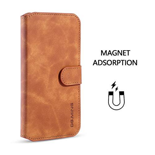 xinyunew Hülle Kompatibel mit Xiaomi Mi Note 10 Pro Hülle, 360 Grad Handyhülle + Panzerglas Premium Handy Schutzhülle Leder Wallet Tasche Flip Brieftasche Etui Schale (Braun)