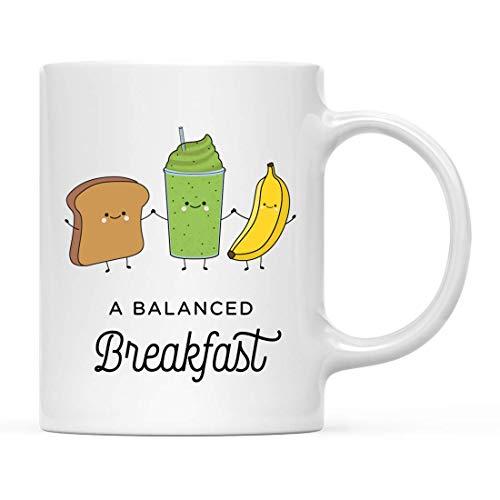 Cadeau drôle de tasse de thé de café en céramique de jeu de mots de nourriture, un petit déjeuner équilibré, pain grillé au blé, banane, smoothie vert, graphique de positions de yoga, paquet de 1, idé
