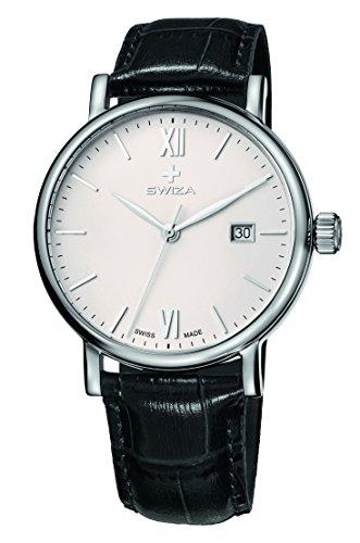 SWIZA Alza Gent Quarzlaufwerk, Gehäuse Edelstahl 316L, Datumsanzeige, Schwarzes Lederband Luxus Uhr Made in Swiss