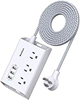Power Strip with USB, Addtam ETL Certificate Flat Plug Extension Cord with 3 USB Ports, 3 Widely Spaced Outlets, 5 Feet...