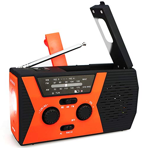 Retekess HR12W Emergency Solar Hand Crank Radio, NOAA Weather Portable Radio for Emergency with AM FM, Reading Lamp, 2000mAh Power Bank and SOS Alarm