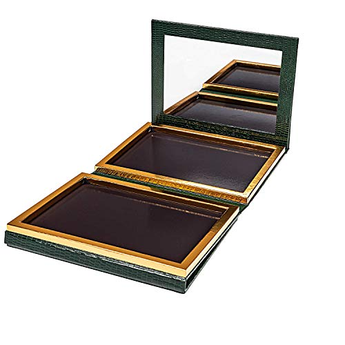 Green Faux Leather Double Sided Empty Magnetic Palette with Mirror; Holds 70 Standard Sized Eyeshadows
