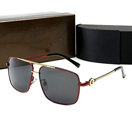 XIAOTANBAIHUO Anteojos Gafas de sol retro estilo ciclista, gafas de sol polarizadas para hombres Gafas de sol Protección UV Gafas protectoras (Color : Red gold/black)