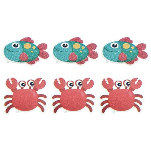 Cabilock 6St Badewanne Aufkleber Kinder Badewannenaufkleber rutschfeste Meerestier Krabbe Kleiner Fisch Sticker Selbstklebende Anti Rutsch Dusche Badewanne Badzimmer Dekoration