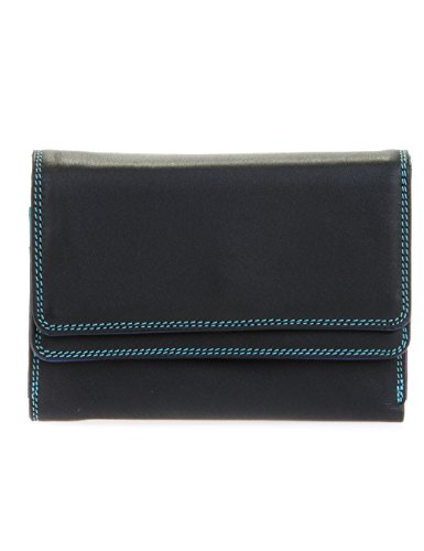 Mywalit - leder damen Geldbörse - double flap purse - 250-4 - Black pace