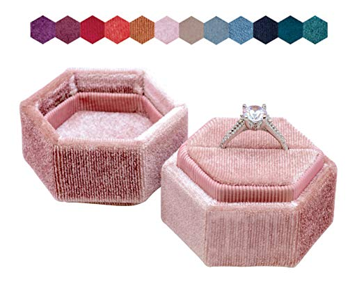 The Lux Box: Gorgeous Antique Velvet Geometric Ring Boxes for Proposals and Wedding Photos || Hexagon and Oval || Single or Double Rings || Fits Slim Bands (Dusty Rose Hexagon Single Ring)