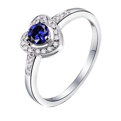 Socoz Anillo de compromiso de oro blanco de 18 quilates con diamante de 0,09 ct para mujer, de oro blanco Oro Bianco