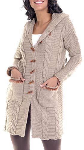 Leif Nelson Damen Strick-Jacke Frauen Basic Freizeitjacke mit Kapuze Damen Hoodie Sweatjacke Das Beste in Kleidung Damen LN10145 Größe M, Dunkel Beige