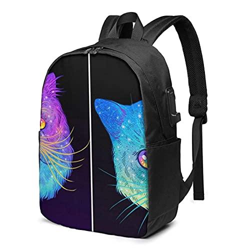 XCNGG Intergaláctico Cats You 'll Love Travel Laptop Mochila, Mochila con Puerto de Carga USB, para Hombres y Mujeres, se Adapta a 17 Pulgadas