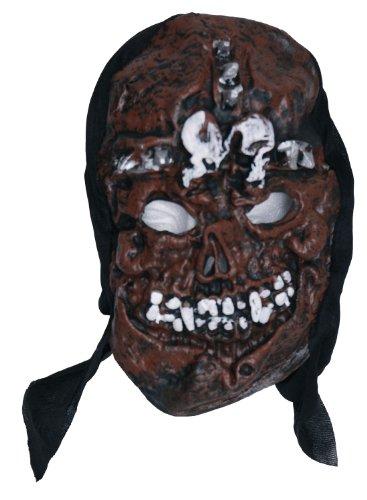 Zombie Masque en caoutchouc Marron 3 Motif tête de mort