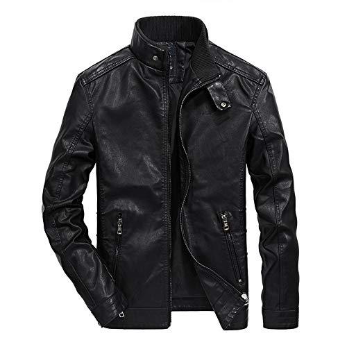 Veste Cuir Homme Mode Automne Hiver Manteau Chaud Bouton Zip Vêtements Cuir
