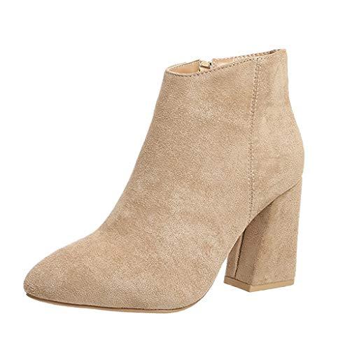 Stiefeletten mit Dicken Sohlen mit Damen Martin Stiefel Schuhe Stiefel Frauen Ankle Booties Flock...