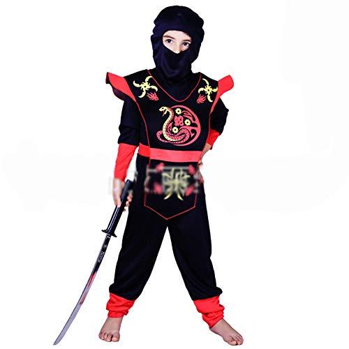 Ninja Kostüm Kinder Grün-Schwarz Mit Schicker Rüstung Halloween Karneval - Ninja Kostüme Für Kinder Jungen,Rot