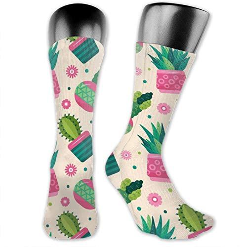 Anime-Socken, bunt, Kaktus-Pflanzen, weich, schnelltrocknend, atmungsaktiv, Sportsocken, Unisex, Crew-Socken, 39,9 cm