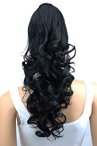 PRETTYSHOP 50cm Haarteil Zopf Pferdeschwanz Haarverlängerung Voluminös Gewellt Schwarz H8